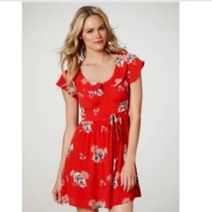 Red floral American eagle dress